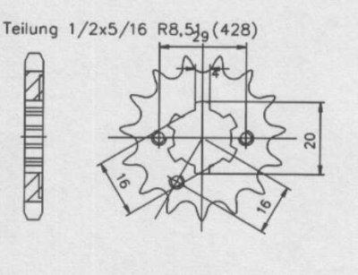 Ritzel 16 Zähne, Teilung 428
